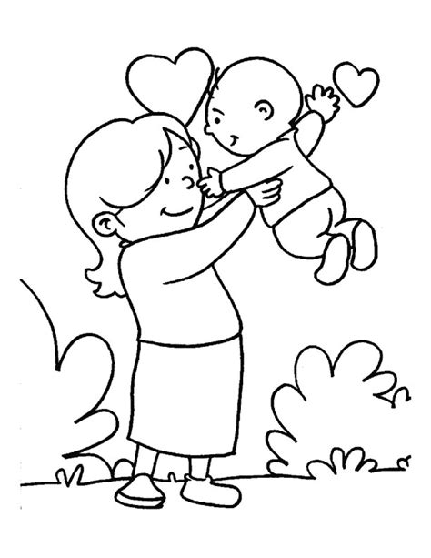 in the loving care of her mom coloring page download