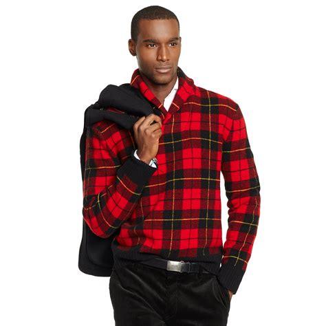 Pashmina Ima Polos Pip 10 polo ralph plaid shawl collar sweater in for