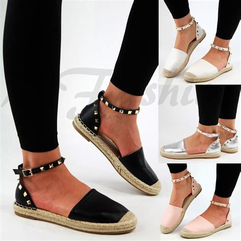 Summer Bootc by New Womens Flat Espadrilles Ankle Studded Summer