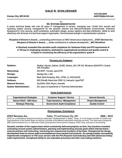 system administrator resume includes a snapshot of the