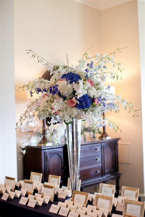 cornflower blue and white centerpiece elizabeth