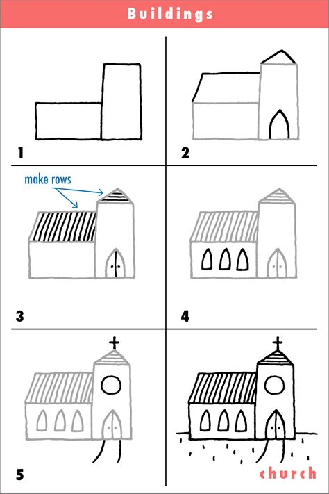 how to draw a house step by step buildings landmarks places church draw step by step cartoon pencil fun simple shapes