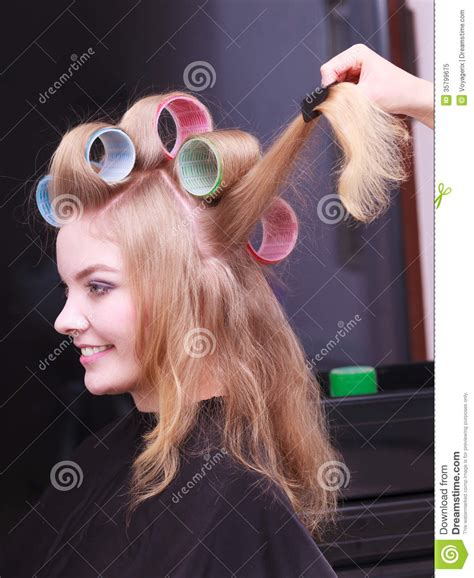women in hair rollers beautiful blond girl hair curlers rollers hairdresser