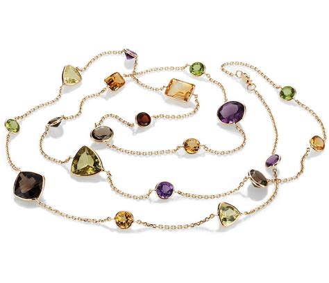Gemstone Necklace multi gemstone necklace in 14k yellow gold 34