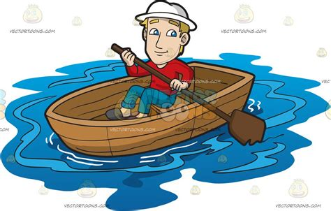 a boat cartoon a man rowing a boat clipart by vector toons