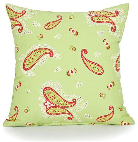 apple green paisley accent throw pillow cover
