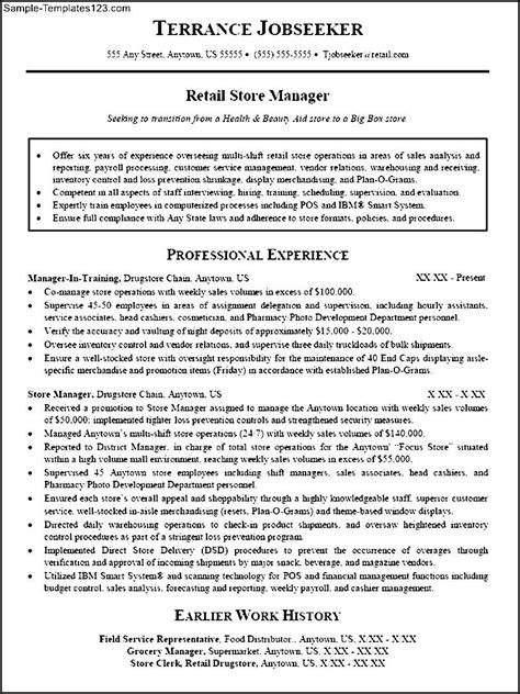 retail management resume template retail management resume sle templates sle templates