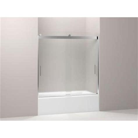 Kohler Bypass Shower Door Kohler Levity 59 3 4 In X 57 In Frameless Sliding Tub Shower Door With Frosted Glass In Silver