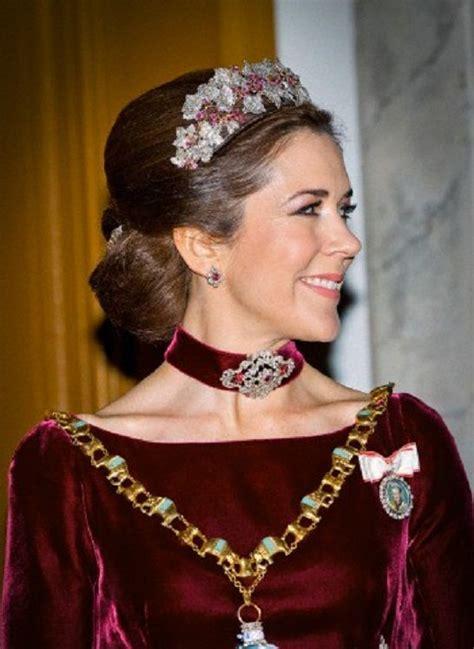 princess mary of denmark new bangs crown princess mary of denmark wears a ruby parure tiara