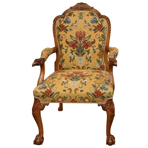 Floral Armchairs For Sale Carved Eagle Armchair With Floral Upholstery For Sale At