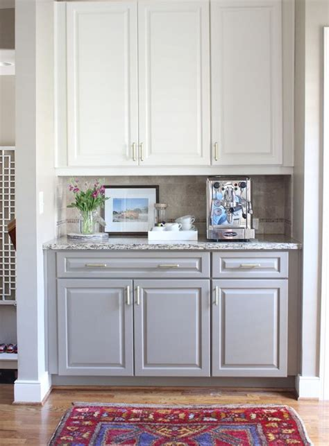 Open Bottom Kitchen Cabinets by Two Toned Kitchen Cabinets White On Top Gray On