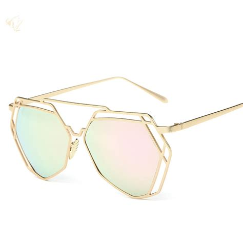 unique glasses 2016 fashion metal frame unique geometry sunglasses women