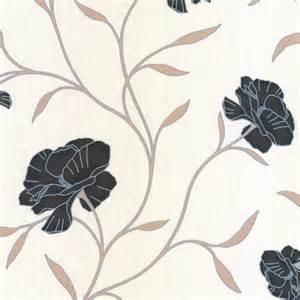 Erismann poppy floral wallpaper black cream beige