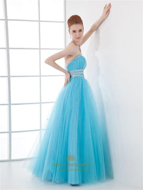 light blue tulle dress light blue strapless tulle prom dress with beaded