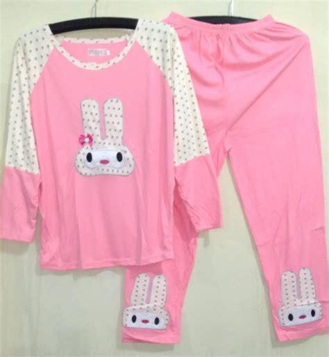 Piyama Baju Tidur Celana Panjang 1 jual baju tidur setelan panjang piyama sleepwear rabbit ribbon pink yuphoria shop