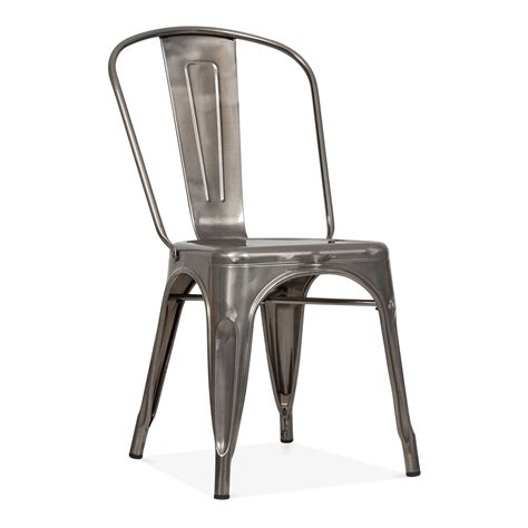 Tolix Style Gunmetal Steel Industrial Side Chair Cult Dinning Room Chair