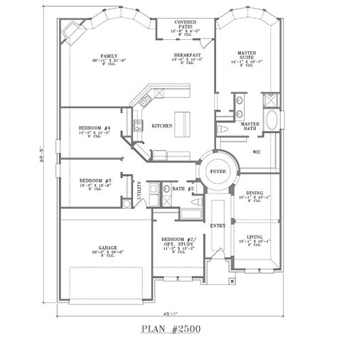 Single Story 4 Bedroom House Plans Custom 1 Story Plan Plan 2500