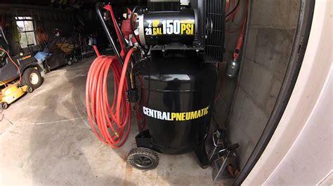 compressor update 29gal 2hp 150psi central pneumatic air compressor