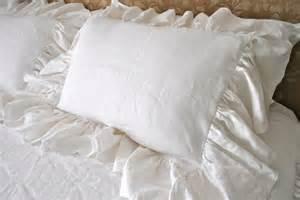 White Ruffle Pillow white linen floppy ruffle pillow