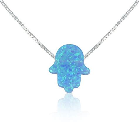 blue opal necklace blue opal hamsa necklace