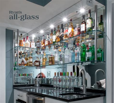 hanging stack bar with glass shelves and mirror wall