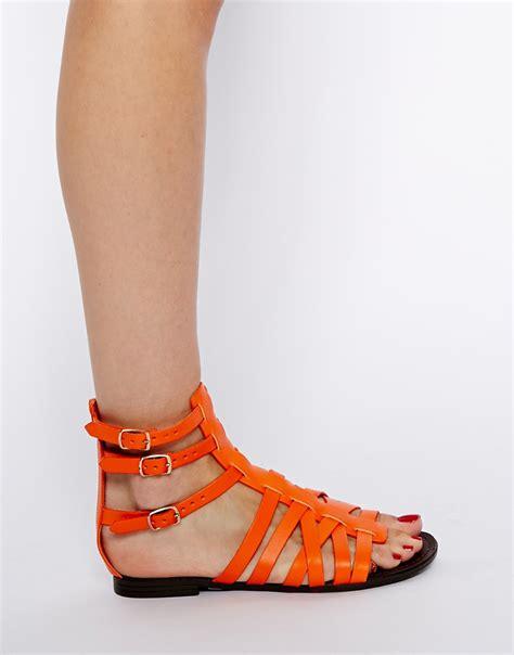 orange sandals shoes steve madden plato multi orange gladiator flat