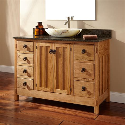 Hardwood Bathroom Vanity 48 Quot Mission Hardwood 7 Drawer Vessel Sink Vanity Bathroom