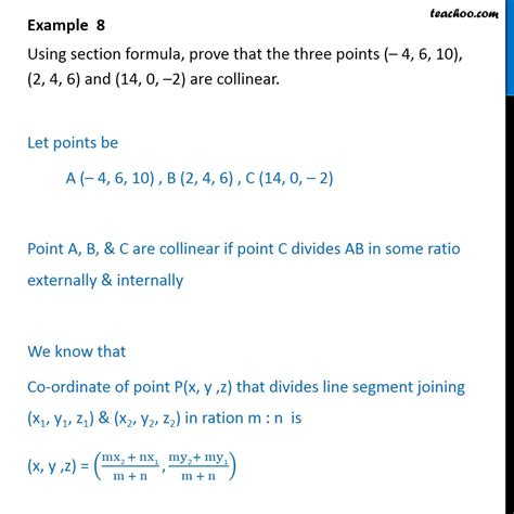 section formula exle 8 using section formula prove that three points