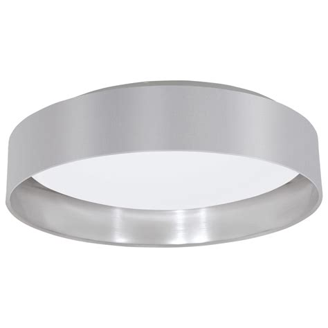 Silver Ceiling Lights Eglo 31623 Maserlo Led Grey And Silver Flush Fabric Ceiling Light