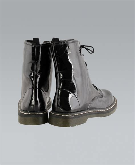 misskrisp lace shiny black pvc ankle boots misskrisp