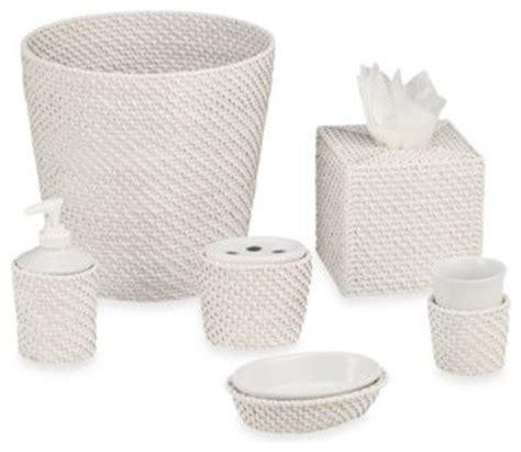 white wicker bathroom accessories cayman white rattan waste basket set contemporary