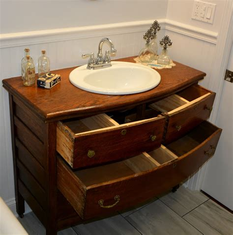 Dresser Sink by Repurposed Antique Dresser Turned Into A Bathroom Sink Vanity