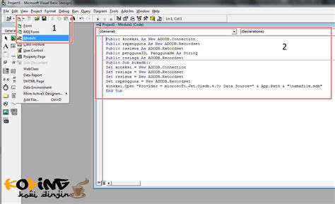 membuat form login dengan database access vb6 setelah itu tambahkan script pada button login