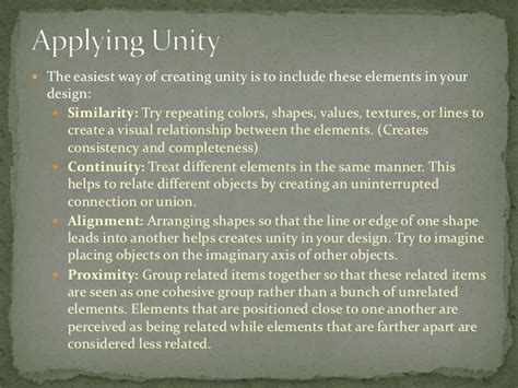 unity pattern definition principles of design proximity and unity