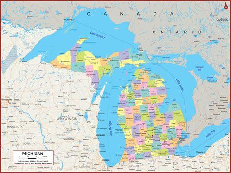 michigan state usa map michigan wall map political