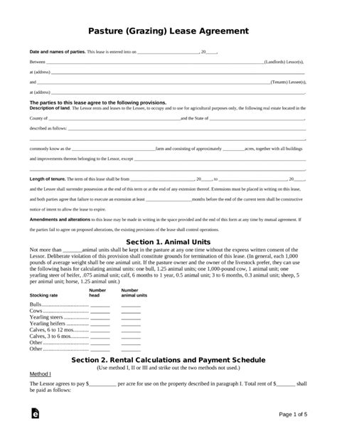 Sle Pasture Lease Agreement Resume Template Sle Grazing Lease Agreement Template