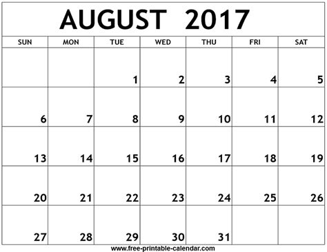 Calendar 2017 August Template August 2017 Printable Calendar Monthly Calendar Template