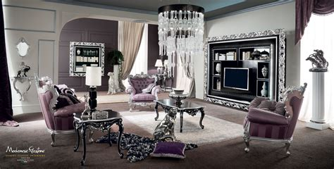 purple silver living room vogue salon with purple upholsteries and furniture decorated with silver leaf applications