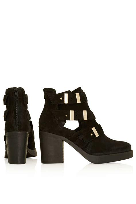 topshop aubrey2 suede cutout boots in black lyst
