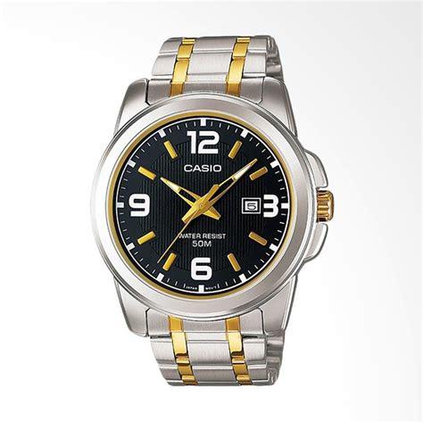 Jam Tangan Pria Casio Mtp V008d Silver Biru Original jual casio stainless steel analog jam tangan pria silver gold mtp 1314sg 1av harga