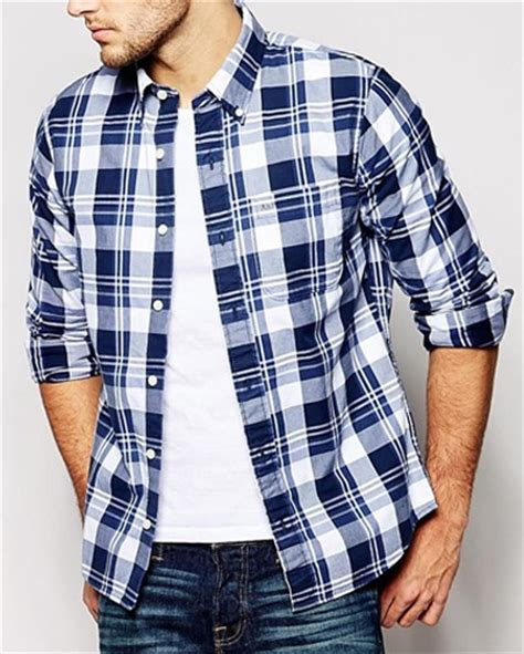 Promo Fashion White Flanel white and navy blue checked flannel shirt wholesale