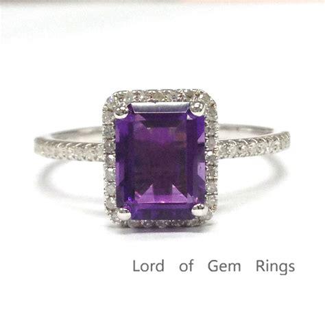 6x8mm emerald cut purple amethyst 14k white gold