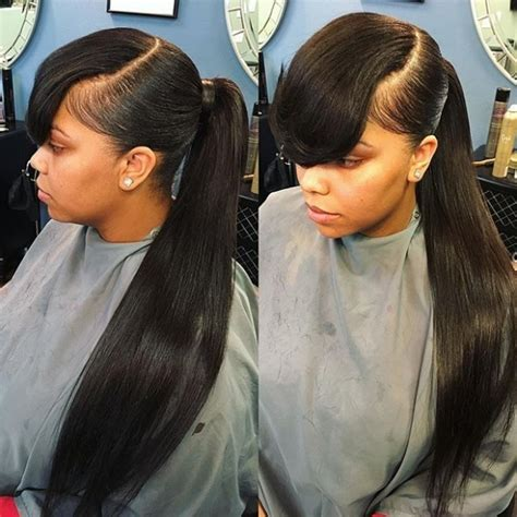 Weave Ponytail Hairstyles by Pictures Of Weave Ponytails With Bangs Find Your