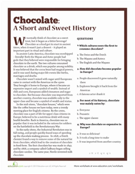 The History Of For Worksheet by The History Of Chocolate Worksheet Education