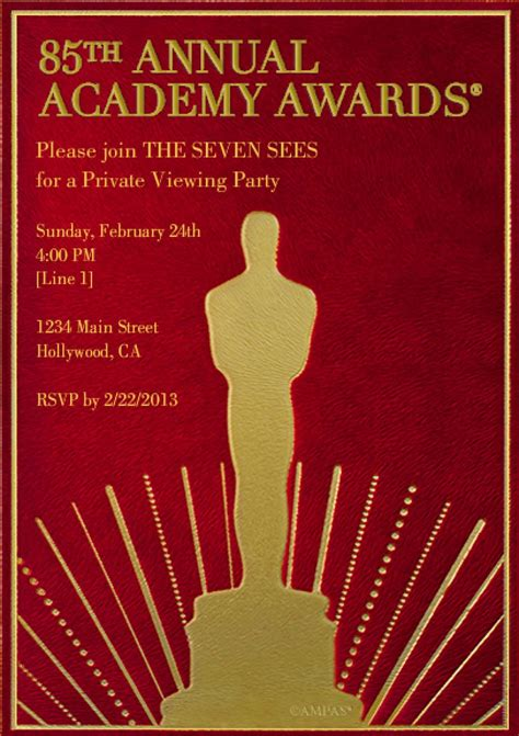 oscar invitation templates cloudinvitation