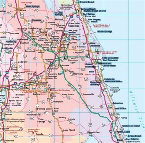 road maps florida central florida road map showing towns cities and