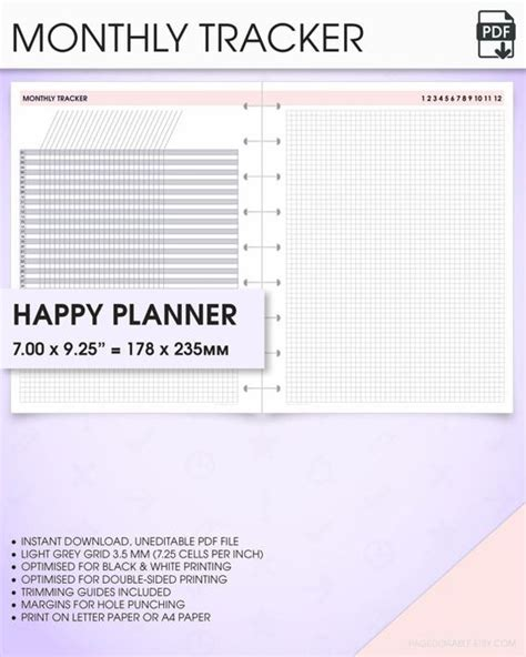 printable monthly habit tracker monthly calendar printable happy planner inserts mo1p