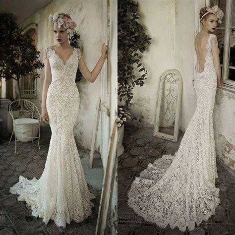 Twvc WhiteIvory Open Back Lace Wedding Dress   Wedding