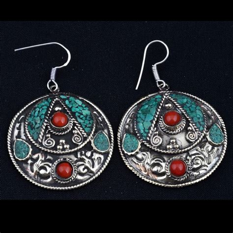 Tiger Tiger   Turquoise and Coral Inlaid Earrings with Sterling Ear Wires.