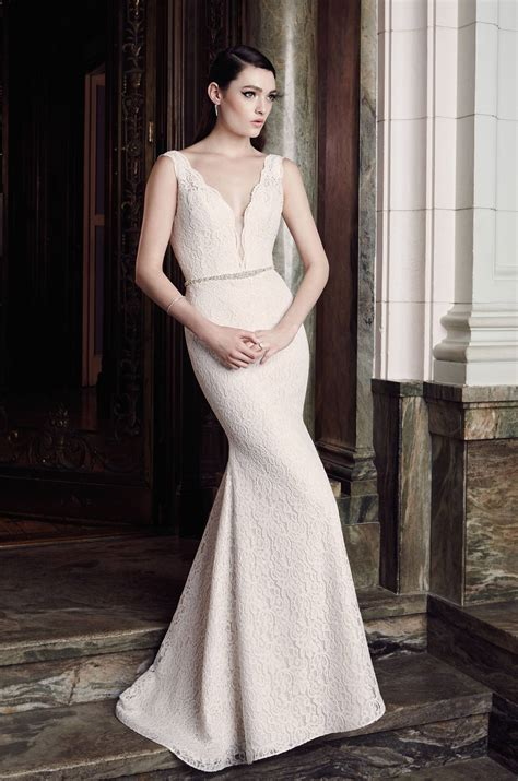 Plunging Lace Wedding Dress   Style #2016   Mikaella Bridal